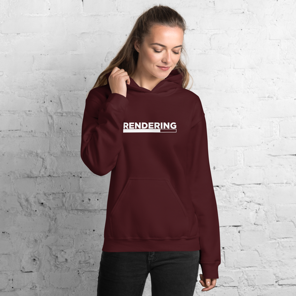 "Female model wearing maroon ""rendering"" hoodie"
