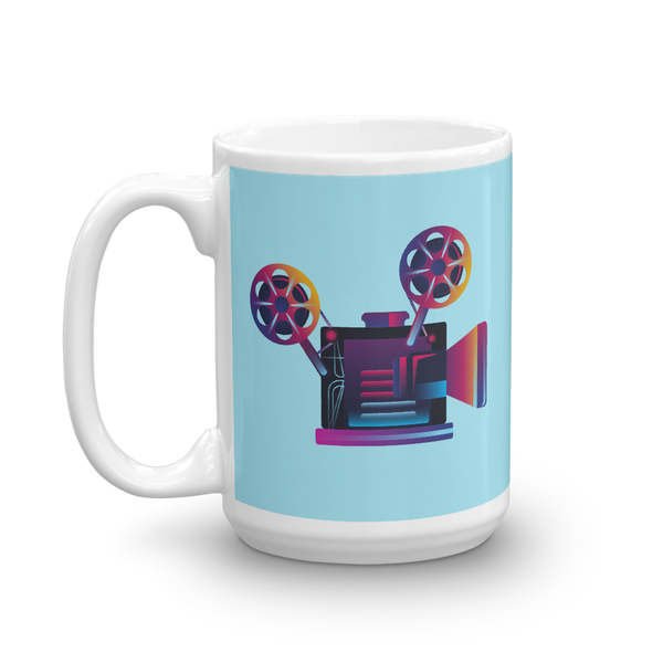 Old school film camera coffee mug for movie lovers