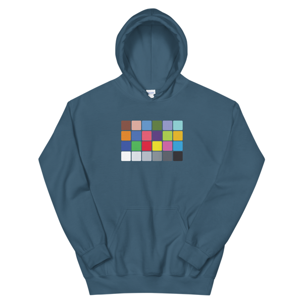 xrite style color chart hoodie for filmmakers