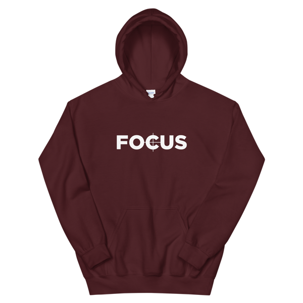 "Maroon ""Focus"" hoodie for filmmaking"