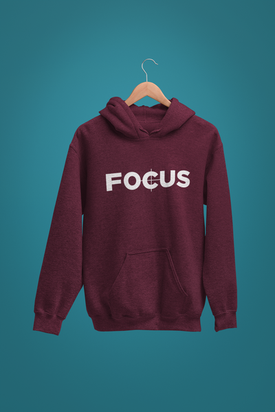 "Maroon ""Focus"" hoodie for filmmakers"
