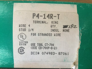 Clearance Sale! - Panduit Ring Terminal for #4 AWG Wire P4-14R-T - Approx 182 Pieces