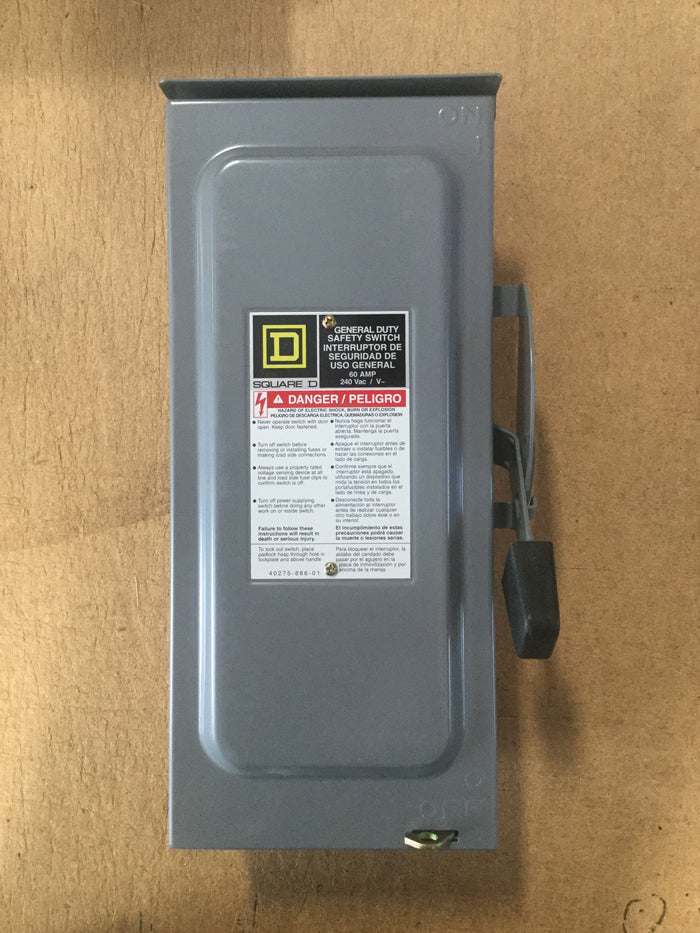 Clearance Sale! -  SQUARE D D222NRB 60 Amp 240VAC Safety Switch 2PST