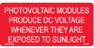 PV Label - POTOVOLTAIC MODULES PRODUCE DC VOLTAGE WHEN EXPOSED TO SUNLIGHT - 10 Pack