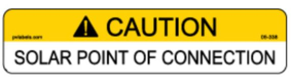 PV Label - CAUTION - SOLAR POINT OF CONNECTION - 10 Pack