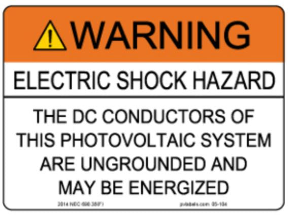 PV Label - WARNING-ELECTRIC SHOCK HAZARD-DC CONDUCTORS ARE UNGROUNDED AND MAY BE ENERGIZED - 10 Pack