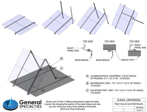 General Specialties S-Rail Universal Roof, Wall and Ground Mount 1 Panel Size C