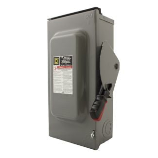 Square D 60A DC Disconnect Safety Switch 600V Non-Fusible 3-pole, 3-wire, Nema 3R enclosure. - HU362RB