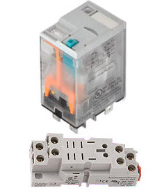 Relay and Socket 15 Amp 12VDC Din Rail Mount - 782-2C-(12D/SKT)