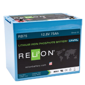 RELiON 12Volt 75AH Lithium Iron Phosphate Battery - RB75