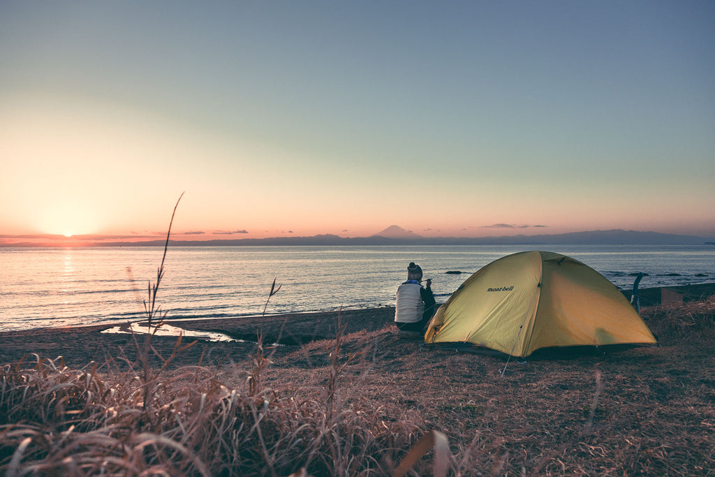 Beach camping with a view of Mt. Fuji. Miura Peninsula, Japan
