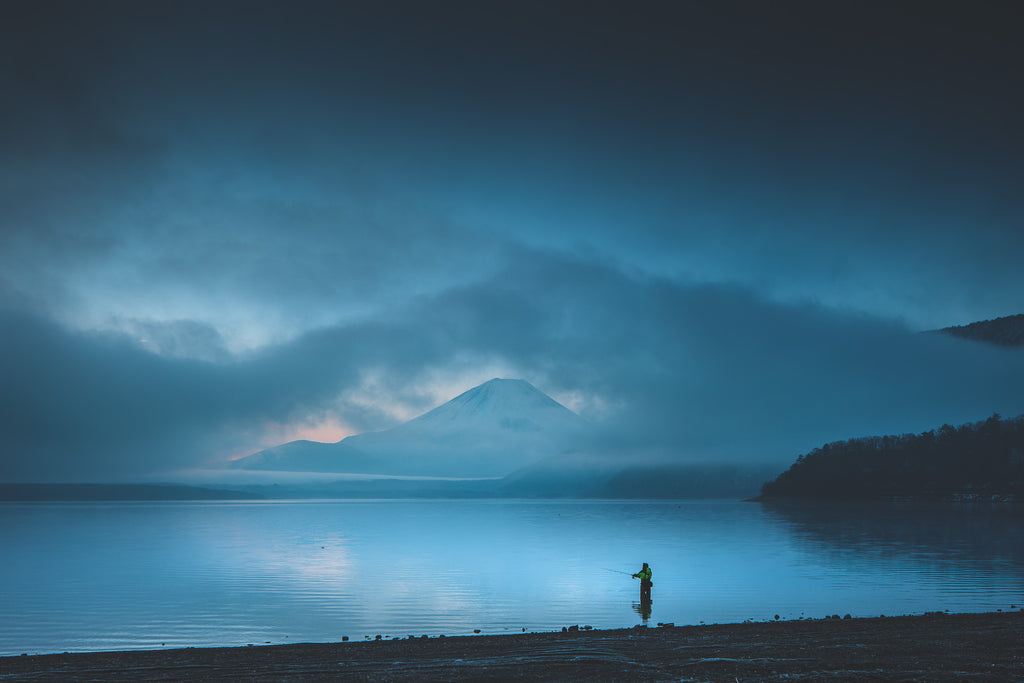 Dawn fishing at Lake Motosuko. Yamanashi, Japan