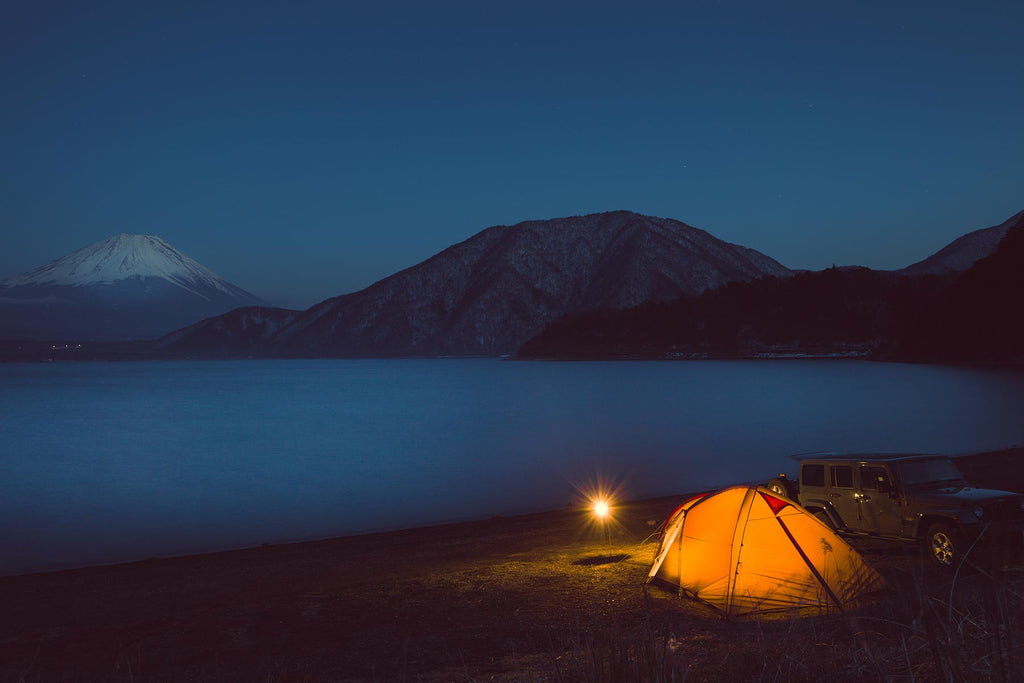 Camping at Lake Motosuko with view of Mt. Fuji. Yamanashi, Japan.