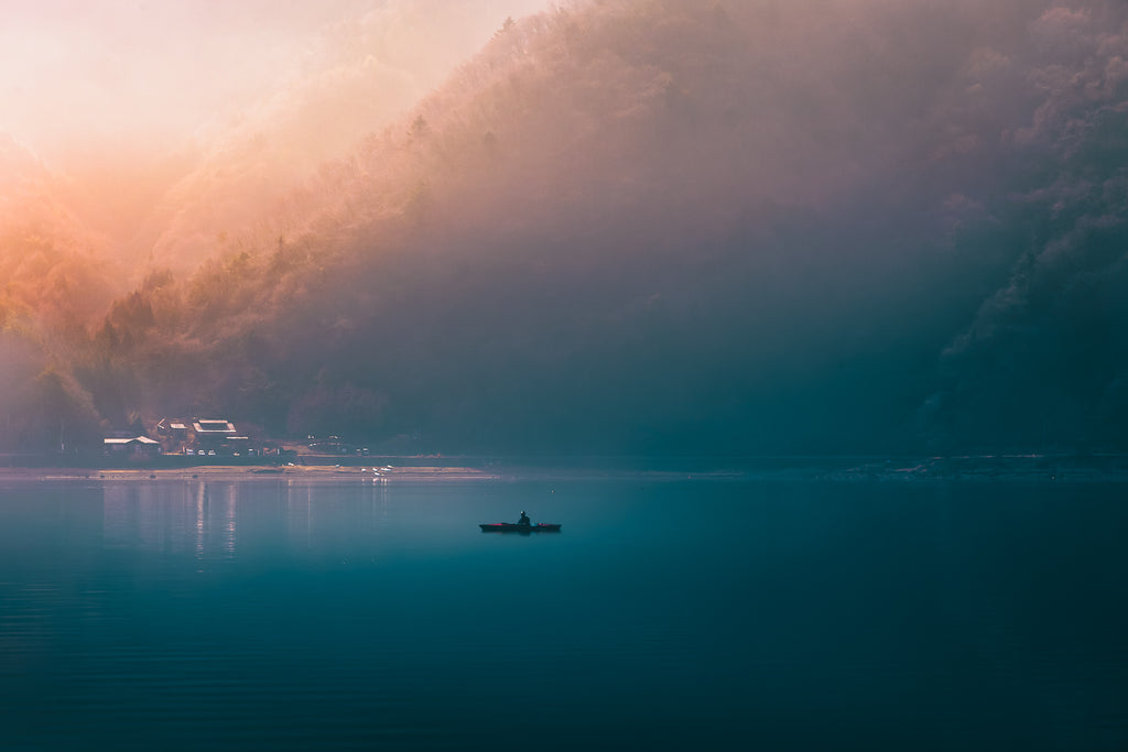 Dawn Kayaker on Lake Saiko, Japan