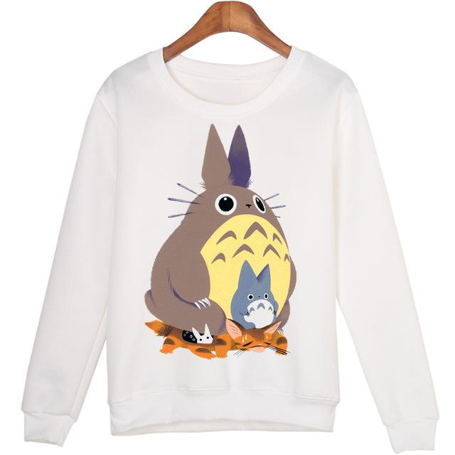 Cartoon Totoro Casual Sweatshirts Women 2015 Moleton Sudaderas Hoodies Harajuku Cute Coatwwetoro-wwetoro