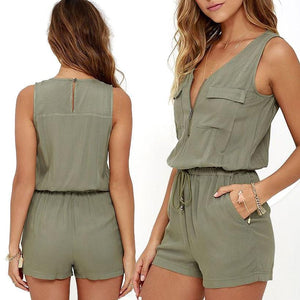 Sexy Sleeveless jumpsuit shorts romper women summer zipper pockets sashes jumpsuitwwetoro-wwetoro