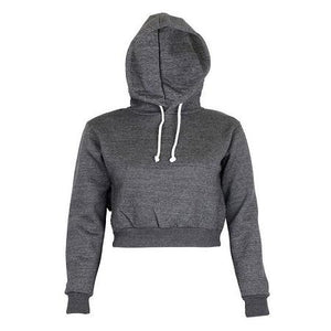 2017 Autumn Women Hoodies Solid Crop Hoodie Long Sleeve Jumper Hooded Pulloverwwetoro-wwetoro