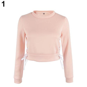 Women Sexy Short Top Long Sleeve Pure Color Pullover Slim Blouse Hoodiewwetoro-wwetoro
