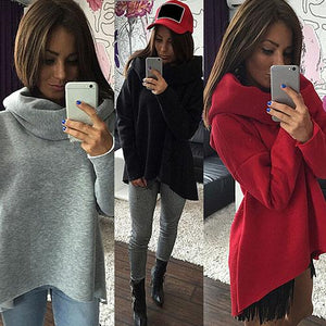Women Autumn Winter Long Sleeve Pullover Loose High Neck Sweatshirt Topwwetoro-wwetoro