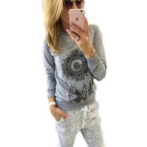 2017 New Womens Autumn Long Sleeve Hoodie Sweatshirt Print Casual Hooded Coatwwetoro-wwetoro