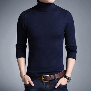 Autumn men's Turtleneck Sweater Pure Color Casual Style Slim Fitwwetoro-wwetoro