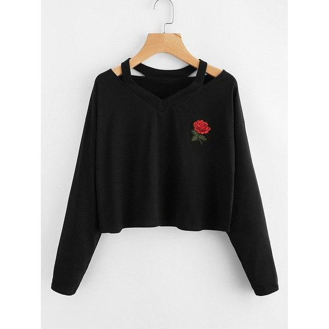 Woman Sweatshirt Rose Print Causal Cropped Sweatshirt Long Sleeve Hoodies Pullovers Hollowwwetoro-wwetoro