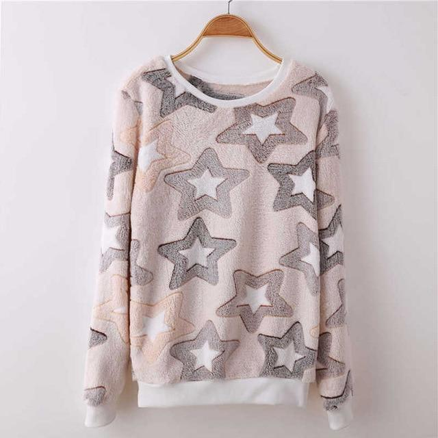 Novelty gray star moon Cloud Print Harajuku Sweatshirts Women 2017 Winter Warmwwetoro-wwetoro