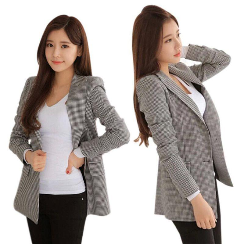 2017 Women Plaid Blazers and Jackets Suit Ladies Long Sleeve Work Wearwwetoro-wwetoro