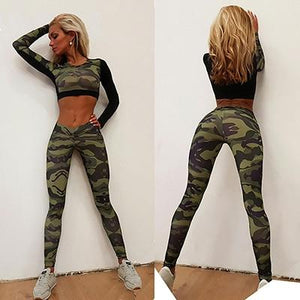 New Camouflage Printed Fitness Suits Women Tracksuit Black Patchwork Long Sleevewwetoro-wwetoro