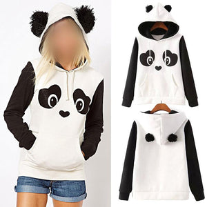 S-3XL Cute Cotton blended Women's Panda Fleece Pullover Hoodie Sweatshirts Hooded Coatwwetoro-wwetoro