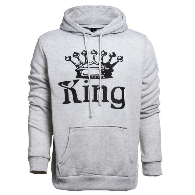 2017 New Women Men Hoodies King Queen Printed Sweatshirt Lovers Couples Hoodiewwetoro-wwetoro