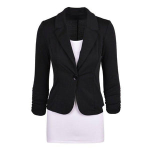 Women's Casual Work Solid Color Knit Blazer Plus Size One button Jacketwwetoro-wwetoro