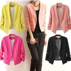 Women Business Suits Coat Short Style Outerwear Cotton Solid Ruched Puff Sleevewwetoro-wwetoro