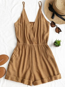 Cross Front Rolled Up Hem Romper Women Rompers Solid Jumpsuit Summerwwetoro-wwetoro