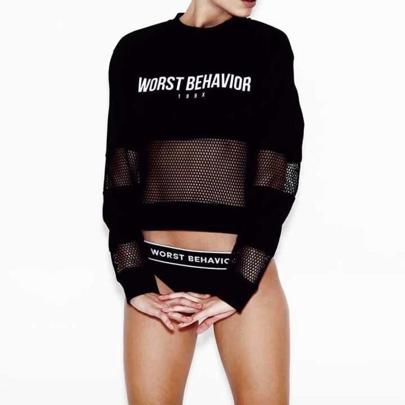 Bts Cropped Hoodies Sweatshirt Women 2018 Summer WORST BEHAVIOR Letter Print Longwwetoro-wwetoro