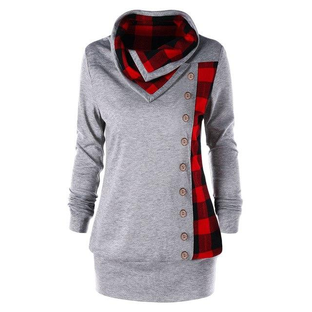 Gamiss Women Single Breasted Sweatshirts Plus Size Plaid Cowl Neck Hoodies Springwwetoro-wwetoro