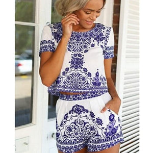 Women's Summer Retro Vintage Blue White Print T-shirt + Shorts Two-piece Shortswwetoro-wwetoro