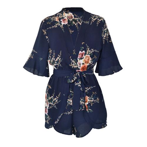 Casual Print Flower Playsuit Women Jumpsuits For Women 2018 New V Neckwwetoro-wwetoro