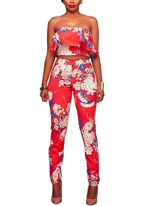 2018 Sweat Suits Women Ruffles Crop Top Long Pant Outfits Floral Printwwetoro-wwetoro