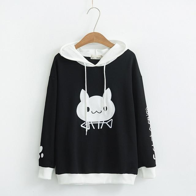 Hooded Sweatshirts Women Spring Cute Cat Pattern Printed Long Sleeve Pullovers Sweatshirtswwetoro-wwetoro