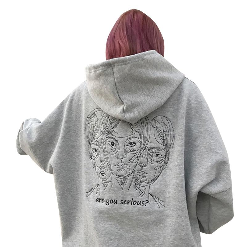 Harajuku Punk Autumn Winter Women Hooded Sweatshirt Head Embroidery Long Sleevewwetoro-wwetoro