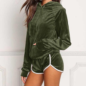 Diamond Velvet Women's Sets Autumn Sweatshirt Shorts Set 2018 Female Winter Hoodieswwetoro-wwetoro