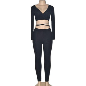 Sexy Woman Autumn Deep V Long Sleeve CropTops+long pants Two-piecewwetoro-wwetoro