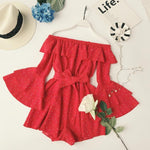 2018 Summer Ladies Polka Dot Slash Neck Ruffled Sleeve Playsuits withwwetoro-wwetoro