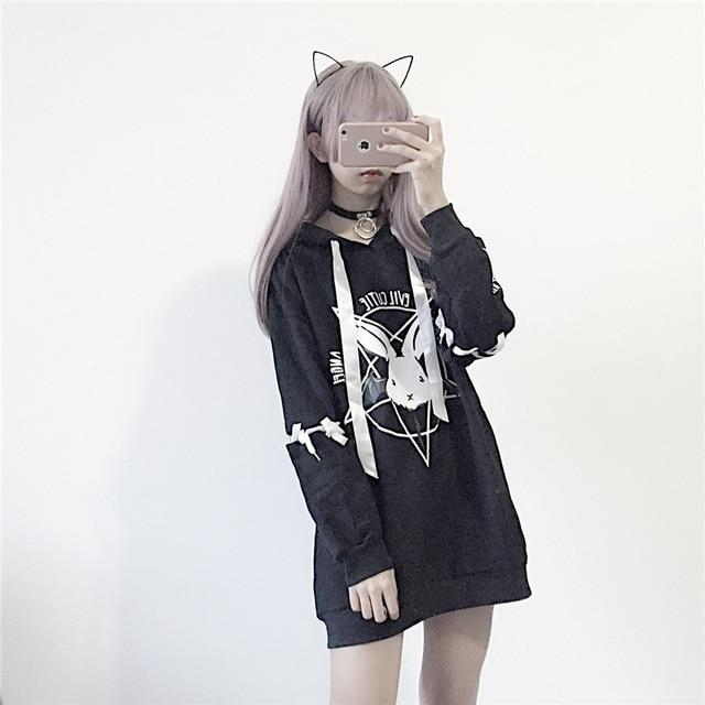 Hooded Cartoon Preppy Style Women Oversize Sweatshirts Winter Cute Harajuku Kawaii Sweatshirtwwetoro-wwetoro