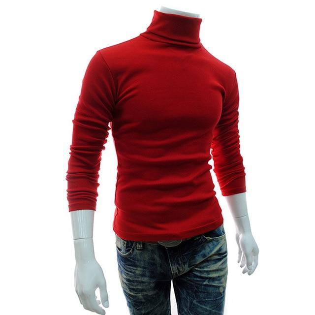 2018 Winter Mens Turtleneck Sweaters White Pullovers Sweater For Man Cotton Knittedwwetoro-wwetoro