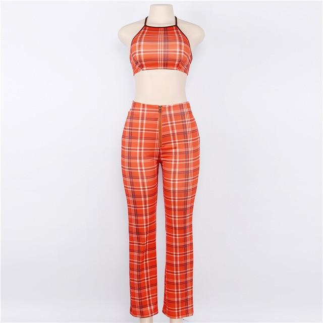 2017 Summer Sexy Backless Plaid 2 Piece Set Short Orange Crop Topswwetoro-wwetoro