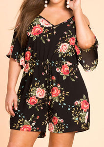Plus Size casual loose playsuits Women Floral Cold Shoulder Romper Flower beltwwetoro-wwetoro