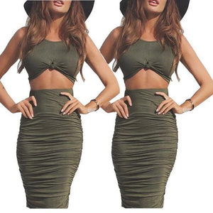 Hot Selling Sexy Women 2 Piece Clothes Sets Solid Color Bandage Cropwwetoro-wwetoro