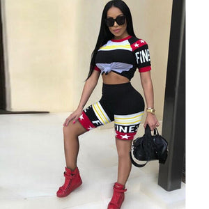 2018 Summer Women Tracksuits Casual Two Piece Set Print Round Neck Shortwwetoro-wwetoro